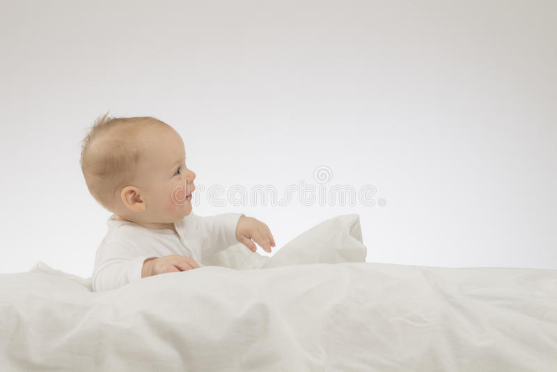 Colocando o bebê engraçado na cobertura branca Tiro do estúdio Isolado fotos de stock