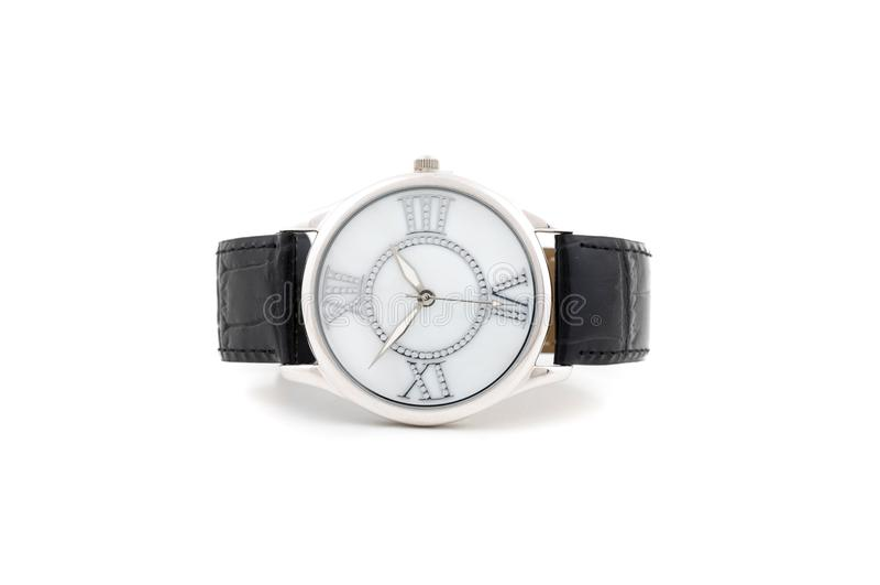Colocando o relógio de prata do negócio imagens de stock royalty free