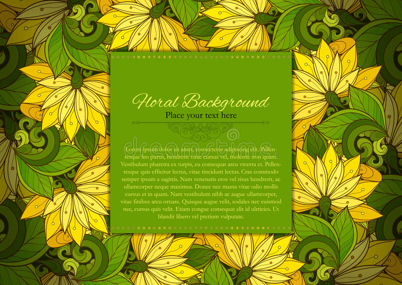 ColoFloral Template with Place for Text. Abstract Flowers with Hand Drawn Ornament. Layout for Greeting Card, Cover Page etc. Clipping Mask Used for stock illustration