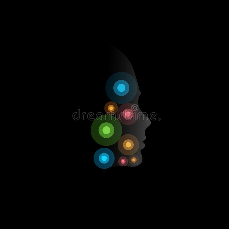 Colofrul circles, abstract unusual cosmic vector logotype on black background with face mystic silhouette. Facial points stock illustration