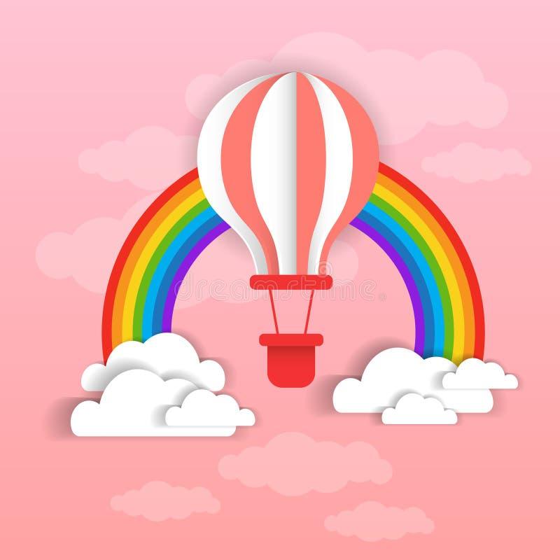 Colofrul Lotniczy balon Nad Różowym niebem, chmurami I Rinbow tłem, royalty ilustracja