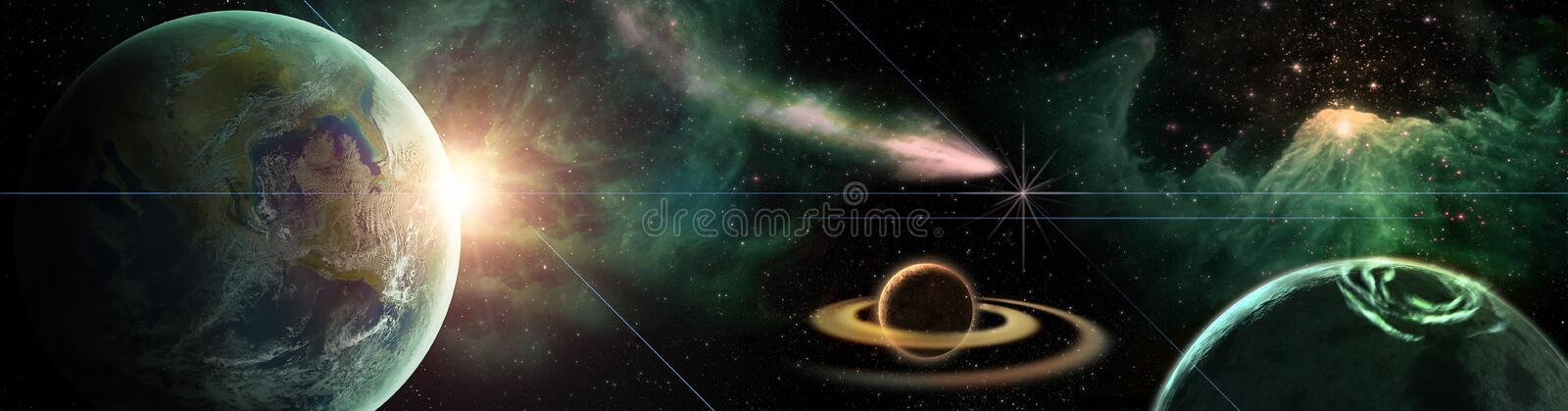 Colofrul Space scene with planets, stars and galaxies. Panorama Horizontal view stock illustration