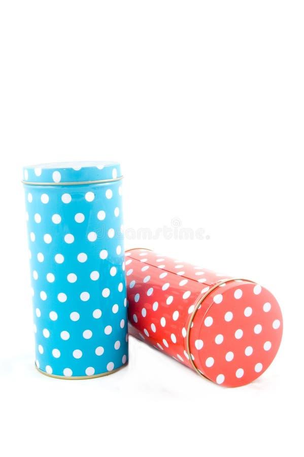 coloful加点的罐子 免版税库存照片