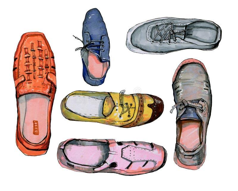 coloful鞋子的手拉的例证 向量例证