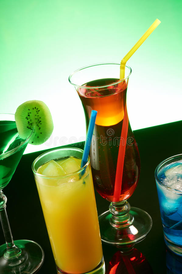 Coloful cocktails. Group of coloful cocktails in a bar royalty free stock photo