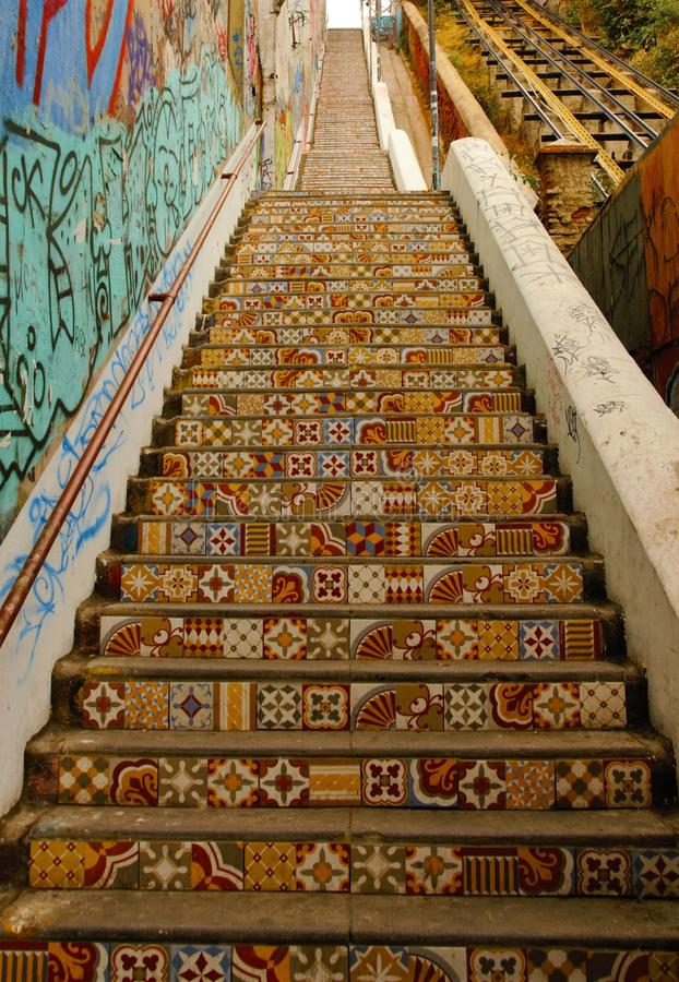Coloful stairs in Valparaiso royalty free stock image