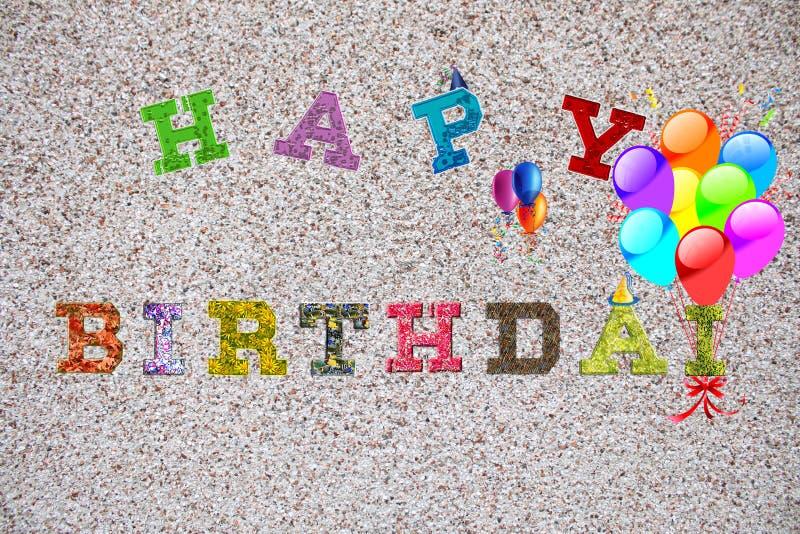 Coloful wszystkiego najlepszego z okazji urodzin słowa na lekkim tle obrazy royalty free