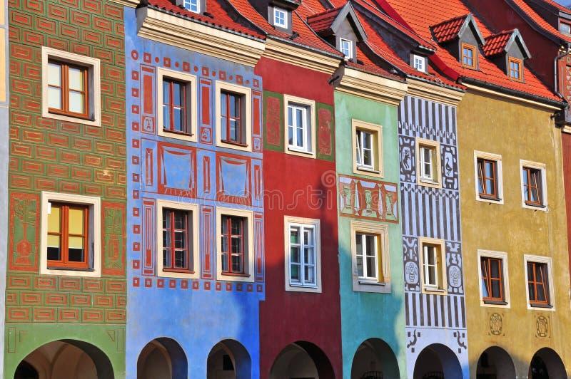 Colofulhuizen van Poznan stock foto's