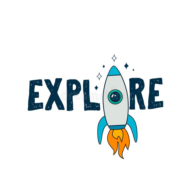 Colofur astronautyczny karciany projekt z rakietą, planetuje i gra główna rolę royalty ilustracja
