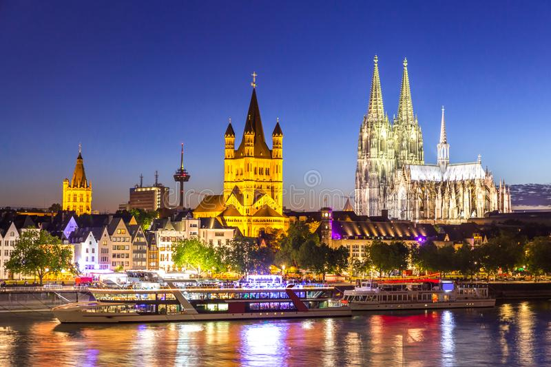 Cologne Cathedral River Rhine. Cologne Cathedral along river rhine Germany royalty free stock image