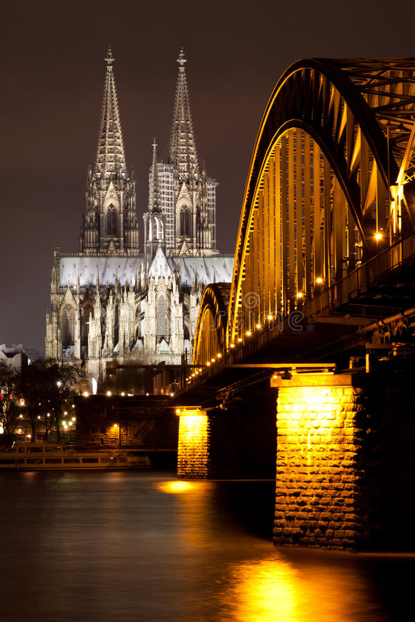 Cologne Cathedral with Hohenzollern Bridge, Germany stock photo