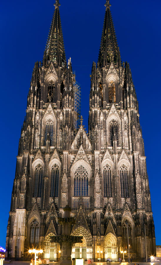 Cologne cathedral at night royalty free stock photos
