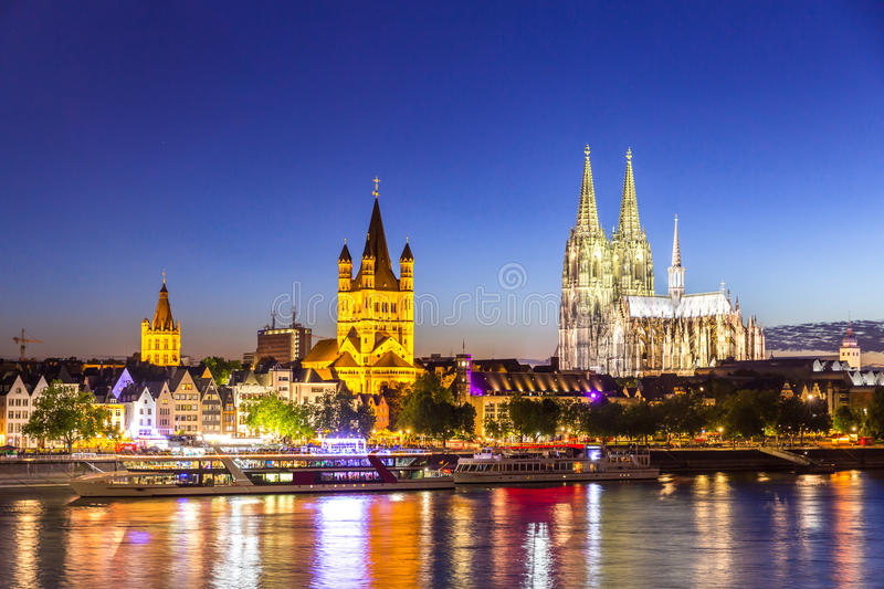 Cologne Cathedral River Rhine. Cologne Cathedral along river rhine Germany royalty free stock photo