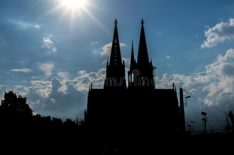 Cologne Cathedral Silhouette royalty free stock photos