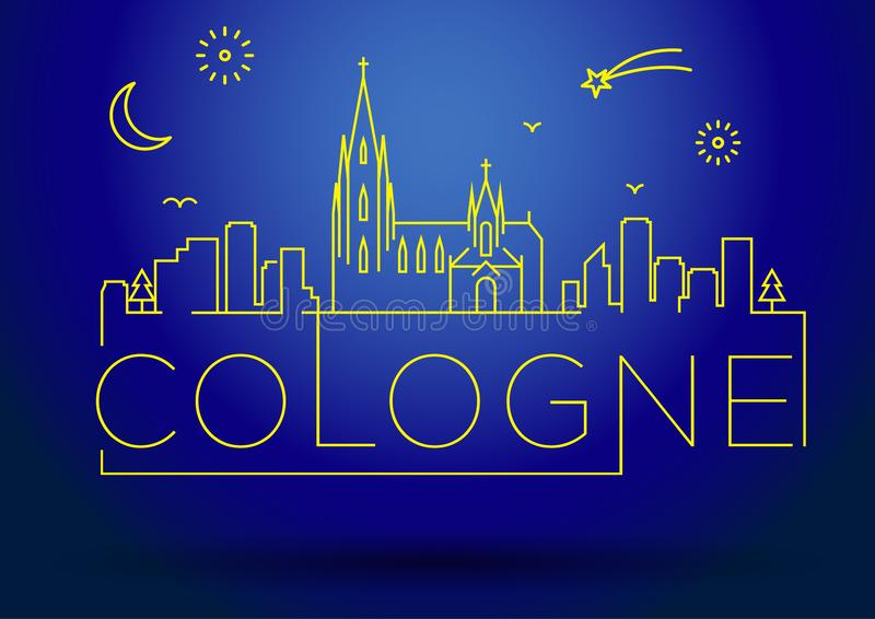 Cologne City Line Silhouette Typographic Design royalty free illustration