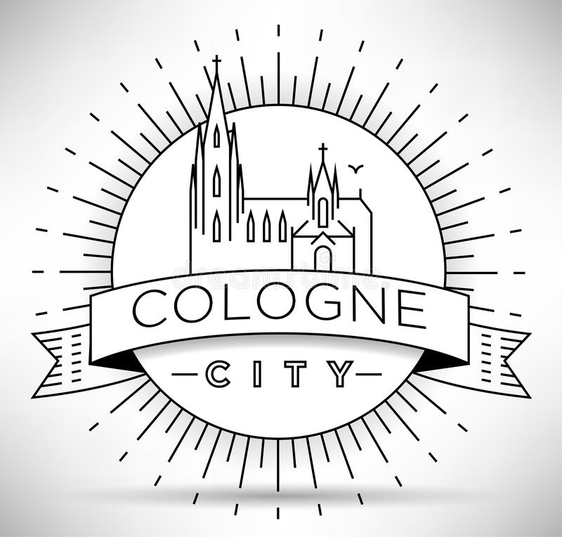 Cologne City Line Silhouette Typographic Design vector illustration