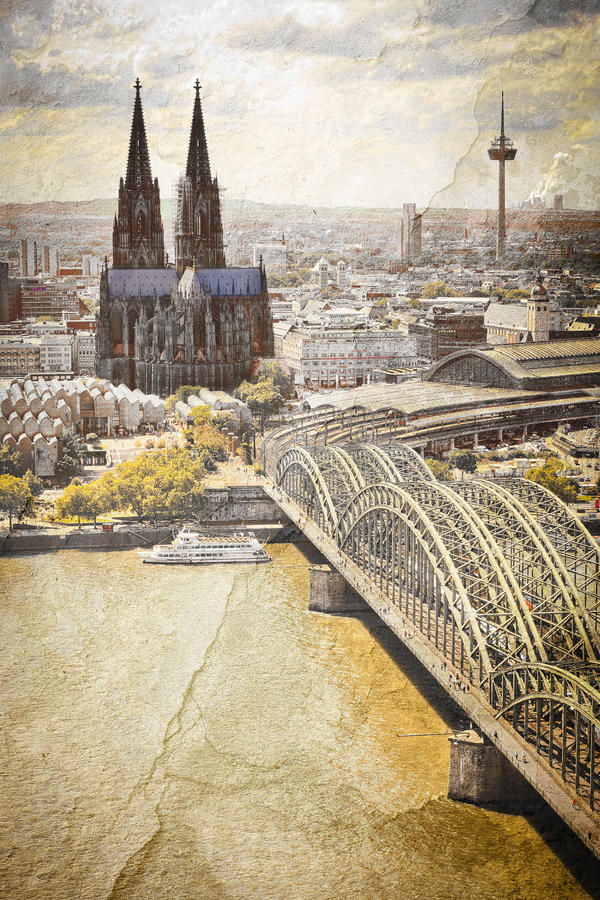 Download Cologne Cityscape With Rhine River And Famous Cath Stock Image - Image: 25721541