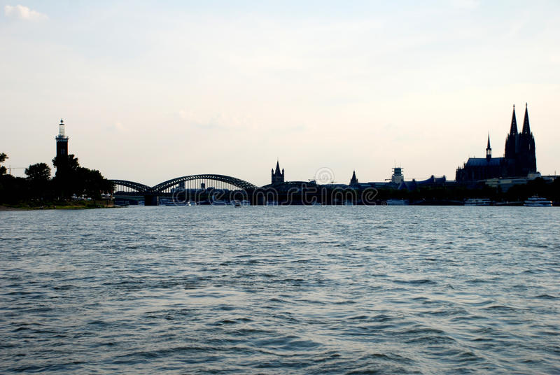 Cologne cityscape in silhouette royalty free stock photography