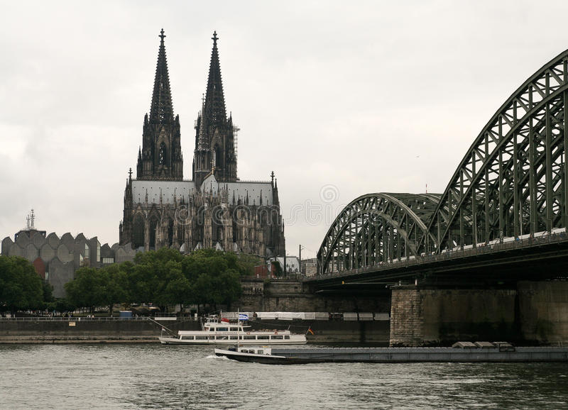 Cologne Dom and bridge over Rhine river royalty free stock photos