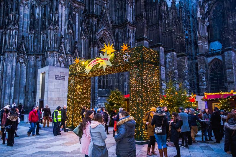 Cologne, Germany - December 15, 2017: Christmas market near the Dom church in Cologne Germany in the evening sun stock photos