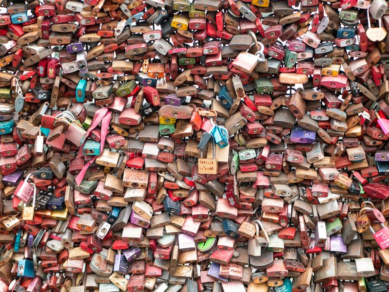 COLOGNE, GERMANY - DECEMBER 06, 2018. Love locks at Hohenzollern bridge in Cologne, Germany stock photography