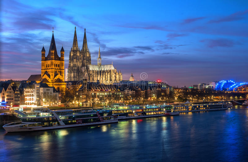 Cologne, Germany - January 22, 2017: View Church of Gross St. Martin., the Cathedral and the Rhine promenade. stock photo