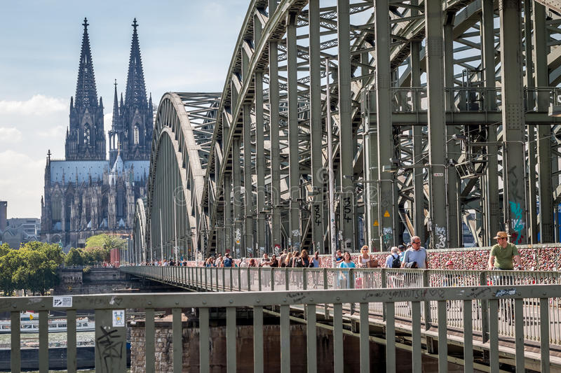 COLOGNE, GERMANY - JULY 31, 2015: Famous Hohenzollern Bridge royalty free stock photography