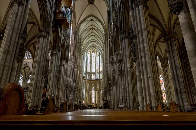 Interior Cathedral Church of Saint Peter, Catholic cathedral in Cologne royalty free stock photos