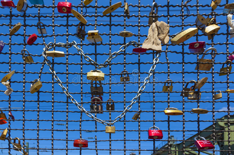 Lockers at the Hohenzollern bridge symbolizing love and truth royalty free stock images