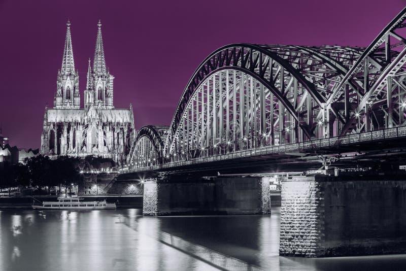 cologne Germany Noc widok Kolońska katedra i Hohenzollern most fotografia royalty free