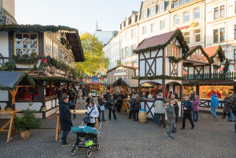 Cologne. Germany - November 27, 2015: Christmas market in front of the Hahnentor at the Rudolfplatz in the city center of stock images