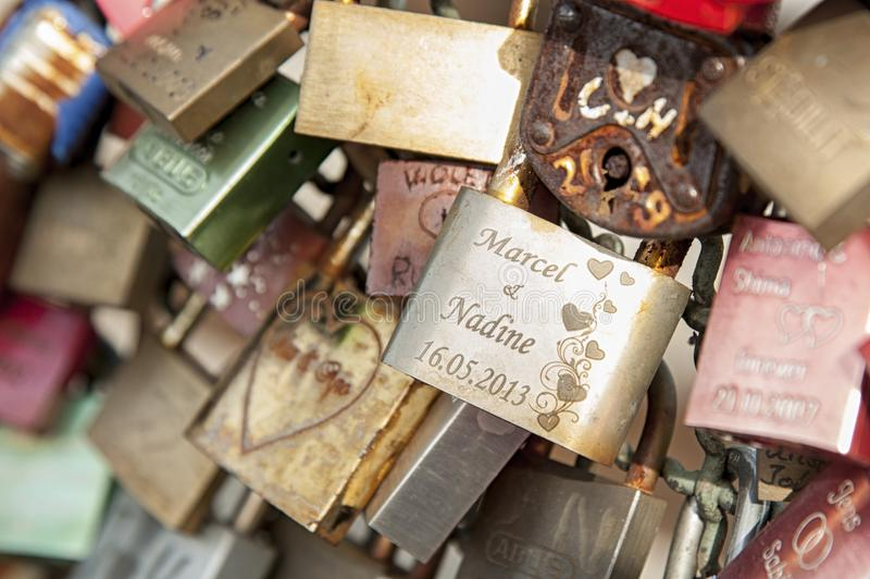 Hohenzollern railway Bridge in Cologne or famous Cologne`s Love Locks Bridge with thousands padlocks left by lovers. stock image