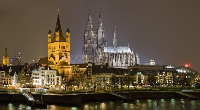 Cologne at night stock photo