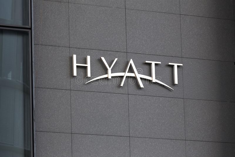 Cologne, North Rhine-Westphalia/germany - 12 10 18: hyatt regency sign in cologne germany. Cologne, North Rhine-Westphalia/germany - 12 10 18: an hyatt regency stock photos