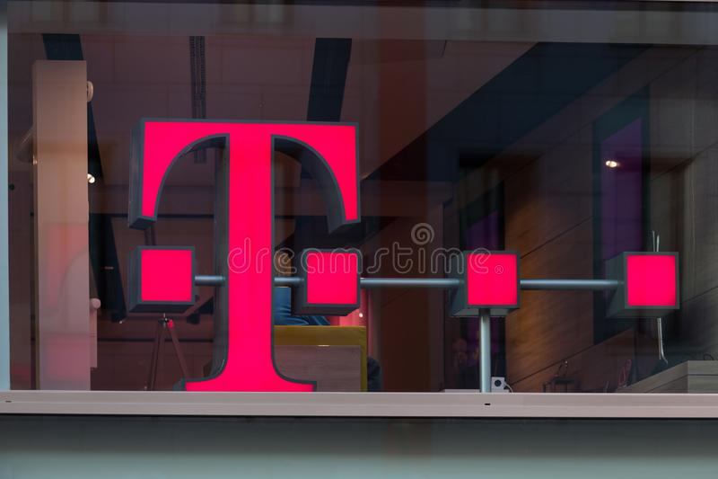 Cologne, North Rhine-Westphalia/germany - 17 10 18: telekom sign in cologne germany. Cologne, North Rhine-Westphalia/germany - 17 10 18: an telekom sign in stock images