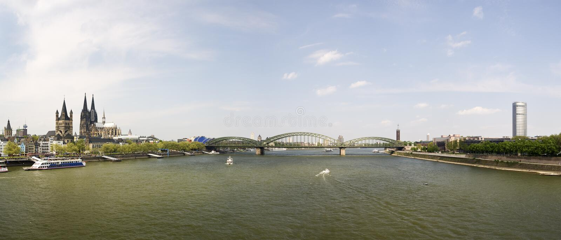 Cologne rhine panorama stock photos