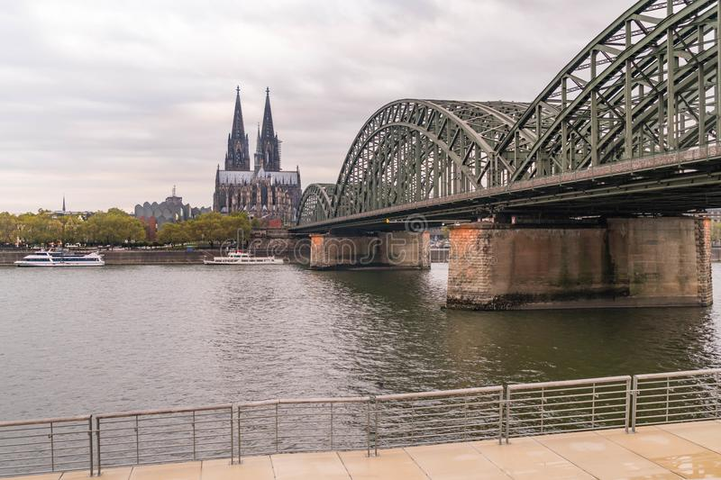 Cologne river view on cologne cathedral royalty free stock photo