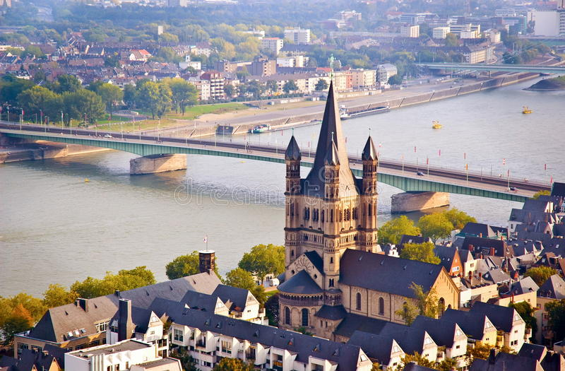 Cologne scene- church and river Rhine. Cologne scene. church and river Rhine. Taken in the Cologne Germany royalty free stock images