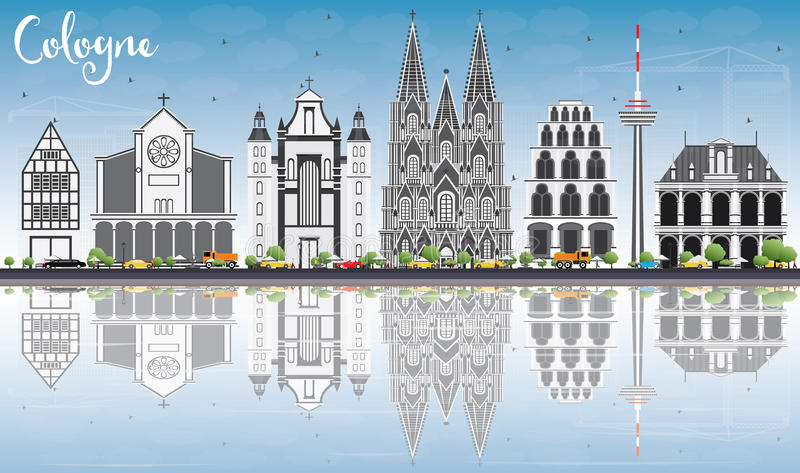 Cologne Skyline with Gray Buildings, Blue Sky and Reflections. stock illustration