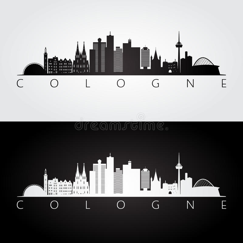 Cologne skyline and landmarks silhouette. Vector illustration. royalty free illustration