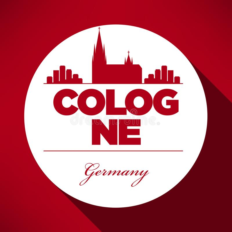 Cologne Skyline with Typographic Design vector illustration