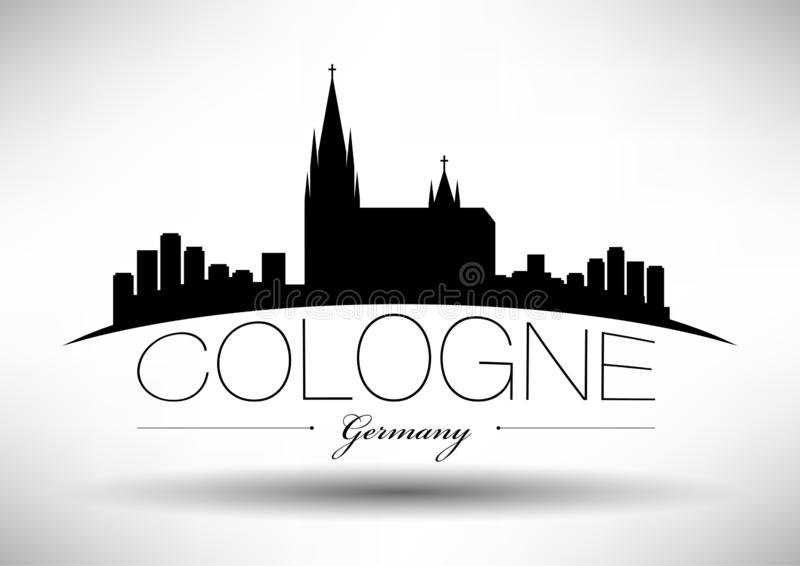 Cologne Skyline with Typographic Design stock illustration