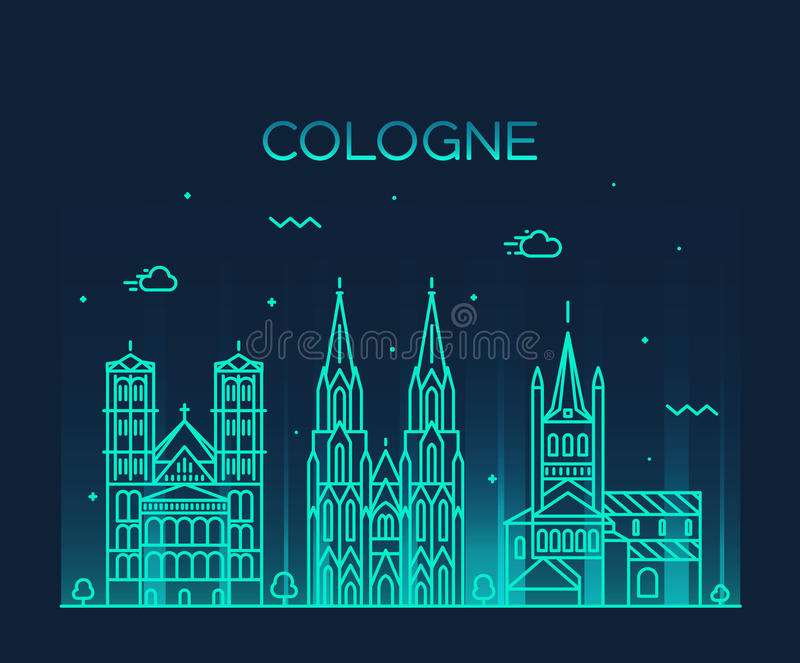 Cologne skyline vector illustration linear style royalty free illustration