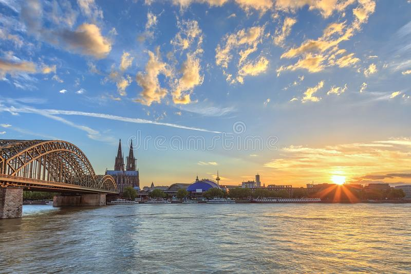 Cologne Germany. Cologne sunset city skyline with Cologne Cathedral and Rhine River, Cologne, Germany royalty free stock image