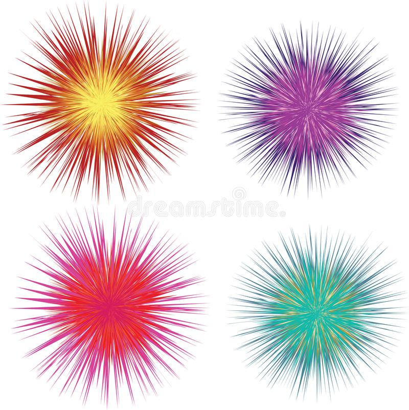 Coloiured vector line explosions vector illustration