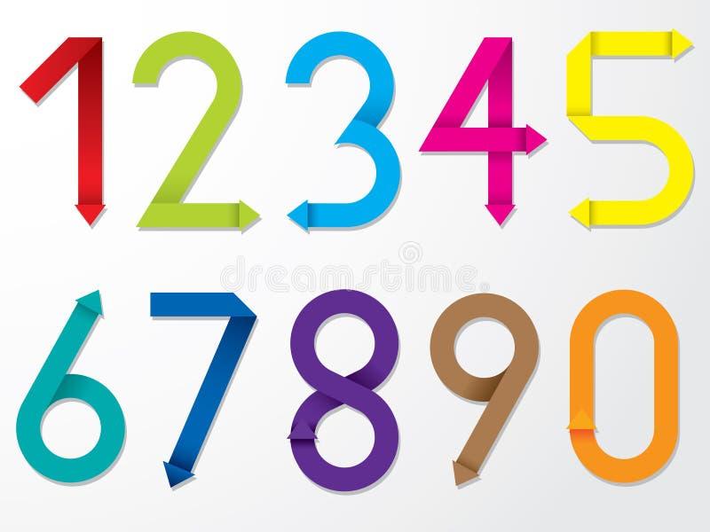 Colol origami liczby set ilustracja wektor