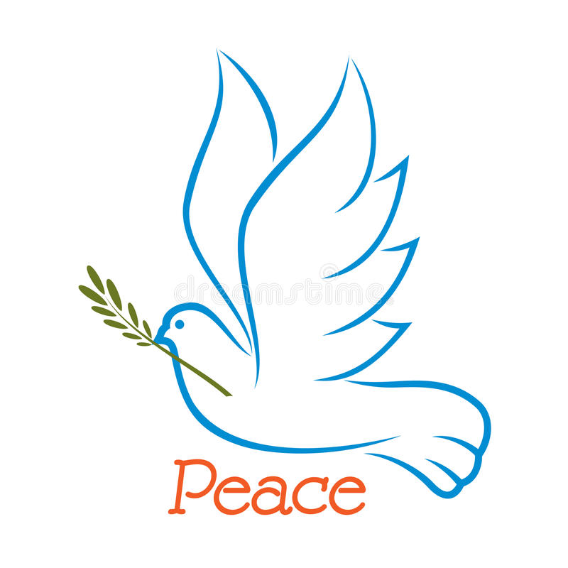 Colomba di pace con ramo di ulivo illustrazione vettoriale