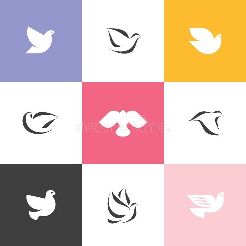colomba Insieme delle icone e del logos eleganti di vettore royalty illustrazione gratis