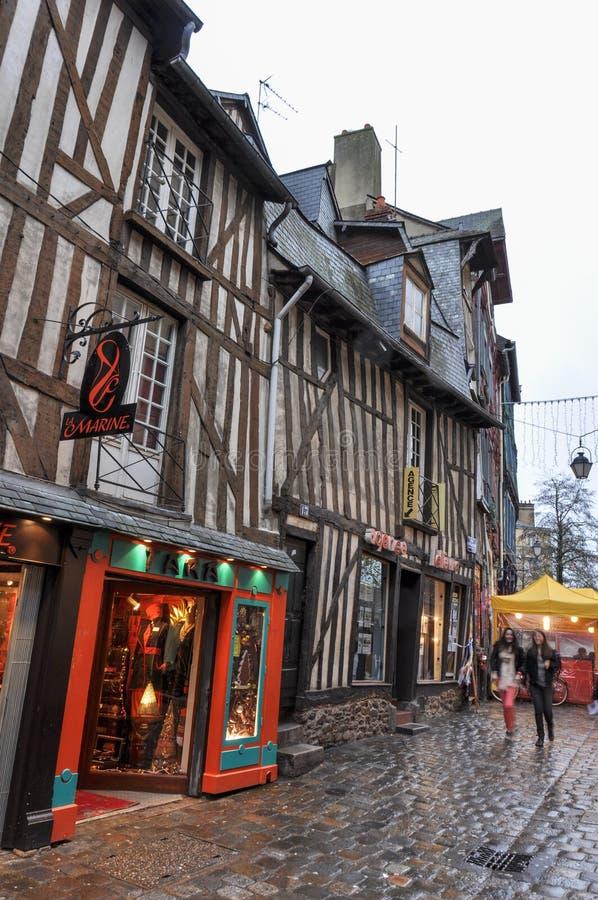 Colombage房子在雷恩,法国 免版税库存图片