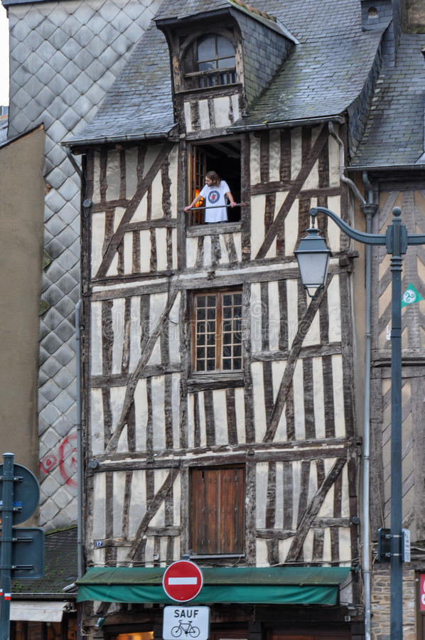 Colombage房子在雷恩,法国 库存图片